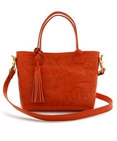 Tooled Orange Leather Handbag at Maverick Western Wear