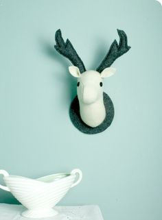Vice & Versa, a Pair of Stags Wall Hangings. | Felt