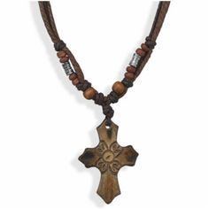 """W3158 14"""" - 18"""" Three strand necklace with Horn Cross"""