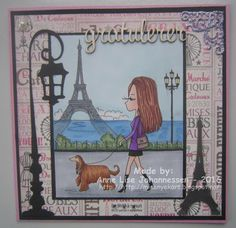 Here's a card I have made with an image from Julia Spiri . The name of the image is 'Promenade in Paris' from today's new release . Digital Stamps, Homemade Cards, Paper Crafting, Disney Characters, Fictional Characters, Aurora Sleeping Beauty, Card Making, Paris, Disney Princess