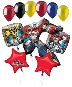 11 pc Transformers Optimus Prime Happy Birthday Balloon Bouquet Super Bumblebee