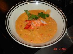 Lobster or Crab Bisque from Food.com: Rich and delicious seafood bisque! I use chicken broth because it's cheap and easy to find, but if you are so inclined, you could use fresh lobster stock or 3 ounces of Glace de Fruits de Mer Gold reconstituted in 4 cups of hot water.