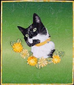 "Tasha, 22 x 19"", by Jodi Scaltreto.  Photo-inspired cat quilt.  Judge's choice award, 2013 Home Machine Quilting Show."