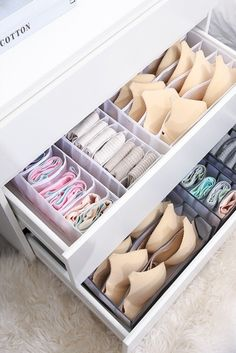 Wardrobe Storage Boxes, Wardrobe Organisation, Small Closet Organization, Organisation Hacks, Sock Storage, Bra Storage, Underwear Organization, House Essentials, Aesthetic Bedroom