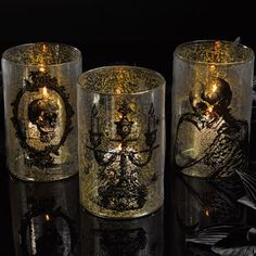 The Dark Side Mercury Glass Candle Hurricanes