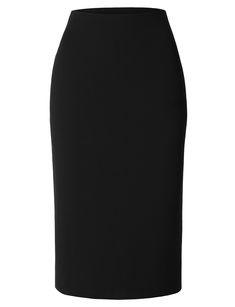 Womens Mediumweight High Waisted Pencil Midi Skirt with Stretch Business Professional Attire, Professional Wear, High Waisted Pencil Skirt, Midi Skirt, Skater Skirt, Long Blazer Jacket, Preppy Style, Preppy Fashion, Office Skirt