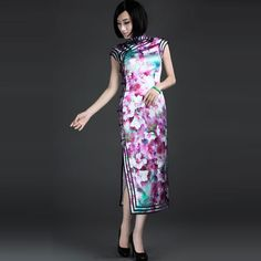 Chinese Style Classical Super Silk Satin Traditional Qipao QP0072
