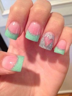 Teal tip nails