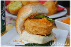 US Masala: Vada Pav-The Indian Burger U can get the receipe of garlic chutney(which is dry powder in red colour served along with this) in this receipe