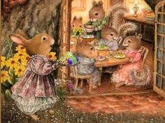 Bunette brings a dish to the Neighborhood Dinner. Beatrix Potter, Susan Wheeler, Bunny Art, Cute Bunny, Peter Rabbit And Friends, Bunny Painting, Cottage Art, Woodland Creatures, Cute Animal Pictures