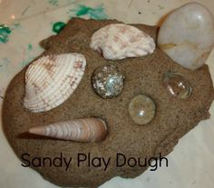 Sandy Playdough-tried this today  and it worked pretty well, had to add a little more water but the kids loved it!