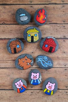 3 Little Pigs Story Stones: These 3 Little Pigs story stones are perfect for re-telling and reading comprehension. Using flat rocks and paint pens, these are simple to make! Story stones are an excellent tool to help with reading comprehension. Stone Crafts, Rock Crafts, Crafts To Do, Crafts For Kids, Arts And Crafts, Pebble Painting, Pebble Art, Stone Painting, Painting Art