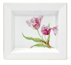 Dish, Flowerpainting, Tulips, 21 x 18,5 cm