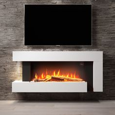 Newest Snap Shots electric Fireplace Remodel Ideas AmberGlo White Wall Mounted Electric Fireplace Suite with Log & Pebble Fuel Bed Wall Mounted Fireplace, Shiplap Fireplace, Home Fireplace, Fireplace Remodel, Modern Fireplace, Living Room With Fireplace, Fireplace Ideas, Electric Fireplace Suites, Modern Electric Fireplace