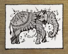 Elephant / ORIGINAL PAINTING / modern art / graphicks / black and white