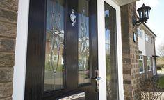 Safestyle Doors Product Bodycomposite 005 & Aspen leather sliding wardrobe doors with dark walnut frame finish ...