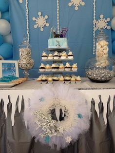 Beautiful dessert table at a  Frozen Birthday Party!  See more party ideas at CatchMyParty.com!  #partyideas #frozen