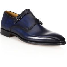 Saks Fifth Avenue Collection Saks Fifth Avenue by Magnanni Double Monk... ($550) ❤ liked on Polyvore featuring men's fashion, men's shoes, men's dress shoes, shoes, apparel & accessories, navy, mens buckle shoes, mens double monk strap shoes, mens navy blue dress shoes and mens monk strap shoes