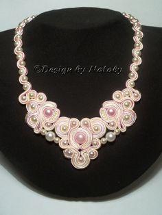 OOAK Soutache Jewelry Necklace Gentle Angel by DesignByNataly, $40.00