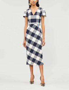 ROLAND MOURET - Chaney checked crepe dress | Selfridges.com