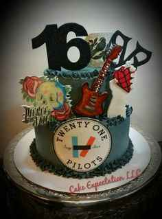 My son's Band Cake  pierce theveil, twenty one piolets, black veil brides, bayside  16th birthday Cake
