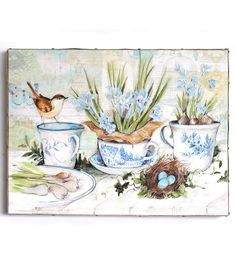 Susan Winget Large Canvas-Blue Tea Party