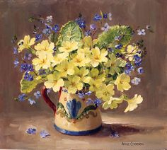 Primroses and Speedwell - Signed Print | Mill House Fine Art – Publishers of Anne Cotterill Flower Art