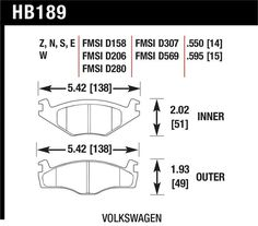 Hawk 1981-1992 VW Jetta/ 1985-1992 VW Golf GTI/ 1979-80/87 VW Scirocco/ 82-86 VW Quantum/ 85-90 VW Cabriolet/ 79-84 VW Rabbit Front DTC-30 Brake Pads