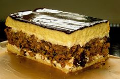 Layered Desserts, Sweet Desserts, Sweet Recipes, Cake Recipes, Dessert Recipes, Polish Recipes, Russian Recipes, Homemade Cakes, Dessert Bars