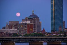 Super Moon over Boston and the Charles River as seen from #CambridgeMA | DiscoverTheCharles.com