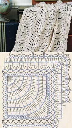 Crochet Bedspread Patterns Part 17 - Beautiful Crochet Patterns and Knitting Patterns Crochet Diy, Crochet Afghans, Filet Crochet, Beau Crochet, Crochet Bedspread, Crochet Motifs, Crochet Blocks, Crochet Diagram, Crochet Chart