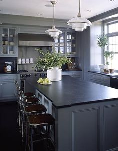 medium grey cabinets, black counter. probably too much grey (i wouldn't do it on the walls too) but i like the contrast on the lowers and island.