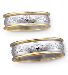 His and hers claddagh wedding bands. two-tone gold with embossed claddagh design. Irish Wedding Rings, Wedding Bands, Wedding Reception, Celtic Spiral, Celtic Knots, Claddagh Rings, Claddagh Symbol, Celtic Designs, Ring Ring