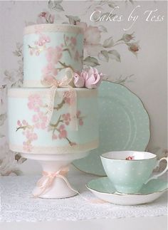 """""""Tessa, of Cakes by Tess, is a cakemaker based in the Netherlands who also collects beautiful teacups, cake stands, dishes and platters that she uses to style her gorgeous cakes."""" The cake is inspired by the Royal Albert's Polka Rose teacup."""
