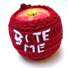 Bite Me Apple Jacket Cozy handmade by KnotworkShop on Etsy, $12.00