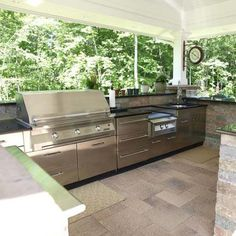This Sleek Outdoor Kitchen Combines Stainless Steel Appliances And  Stainless Cabinetry From Danver For A Seamless