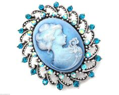 New Cameo Blue Brooch Oval Pin Crystal  #SensualGems #PinBrooch