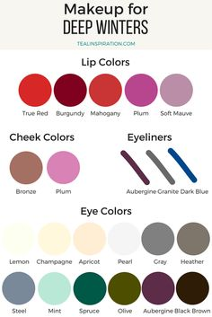 Deep Winter Makeup Colors Source by sarenateal Deep Autumn Makeup, Winter Makeup, Spring Makeup, Deep Autumn Color Palette, Deep Winter Colors, Spring Colors, Light Spring Palette, Color Type, Cool Winter