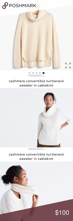 ISO Madewell Cableknit Convertible Turtleneck S ISO I don't have this item! I am searching for it and asking for help if you can! Madewell Cashmere Cableknit Convertible Turtleneck S or M looking to spend 150 or less Madewell Sweaters Cowl & Turtlenecks