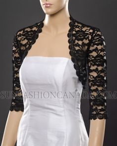 BLACK 3/4 sleeve lace bolero