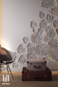 The falling leaves in your room. 3d Wall Art, Unique Wall Art, Wall Decor Design, Bed Design, 3d Wall Decor, Home Room Design, Home Interior Design, Wall Texture Design, Wall Cladding
