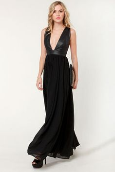 Mystery and Suspense plunging black maxi dress $104 at lulus.com