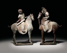 Painted Grey Pottery Figures of Equestrian Hunters            Tang Dynasty