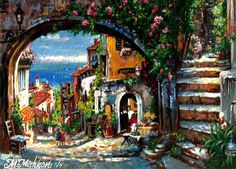 Original ACEO The Vision Beyond  Mediterranean Landscape Italy by M. Mishkova