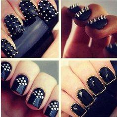 Nails. Studded to perfection. #DIY #nailart #studs