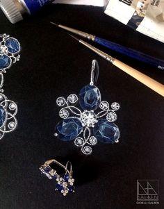 drawing for earrings : sapphires , diamonds , white gold - GIOIELLI DALBEN -italian fine jewelry