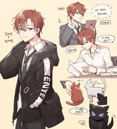 Anime Chibi, Anime Art, Boy And Girl Sketch, Red Hair Men, Character Art, Character Design, Happy Tree Friends, Manhwa Manga, Cute Anime Guys