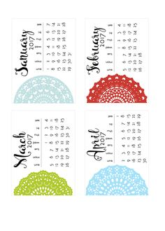 Free Printable Doily 2017 Calendar Cards for Project Life from scrappystickyinkymess