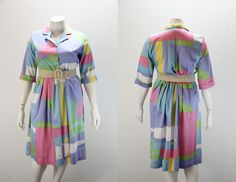 PLUS SIZE Vintage Dress Pastel Sherbet Color  $44.00 SIZEisJUSTaNUMBER