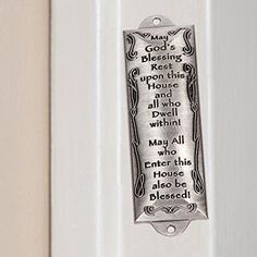 Bless This House Pewter Mezuzah Plaque